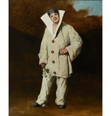 Oil on canvas painting by French artist Theodule Augustin Ribot (1823-1891), titled Harlequin in a Landscape, Holding a Bunch of Flowers, 17 ½ inches by 14 inches (est.  $3,000-$5,000).