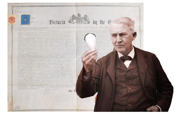 Important collection of 37 original British patent letters pertaining to Thomas Edison's invention of the light bulb and the birth of incandescent lighting, dating from 1878 to 1884 (MB: $10,000).