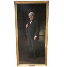 Monumental portrait painting of American inventor Thomas A.  Edison by Ellis M.  Silvette, signed by both men, 47 inches by 96 inches in the frame (est.  $70,000-$80,000).