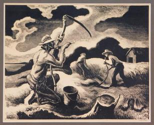 "Original lithograph on paper by Thomas Hart Benton (American, 1889-1975), titled Island Hay (1945), 11 ¼ inches by 16 ¼ inches (sight, less frame), signed ""Benton"" (est.  $2,000-$3,000)."