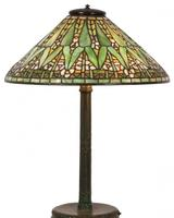 This Tiffany Studios Arrowroot table lamp with 20-inch diameter conical form shade, 26 inches tall, will come up for bid June 21st.