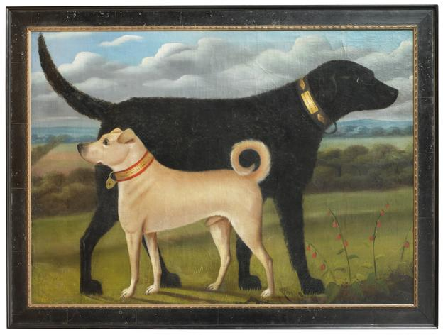 Portrait of Two Dogs in a Landscape English, probably Yorkshire, c.1840-1850.  Inscribed on each dog's collar: Walter Crossly/ Fleece Inn Elland, oil on canvas