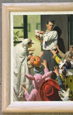 Original paintings will include this original oil on board Halloween scene by Tom Lovell, titled Trick or Treat.