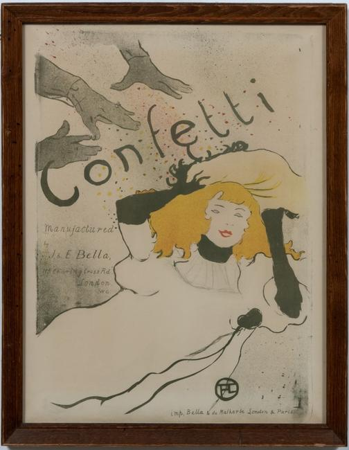 Henri de Toulouse-Lautrec (French 1864-1901) color lithograph titled Confetti (1894), printed by Bella & de Malherbe (London and Paris).  22 ¾ inches by 17 ½ inches (est.  $15,000-$25,000).