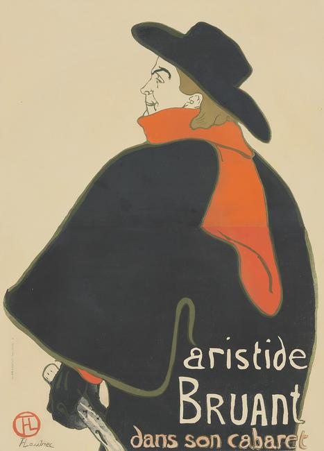 Cabaret poster by the iconic artist Henri de Toulouse-Lautrec (1864-1901), titled Aristide Bruant Dans Son Cabaret (1893), 38 1/2 inches by 53 1/2 inches (est.  $60,000-$70,000).