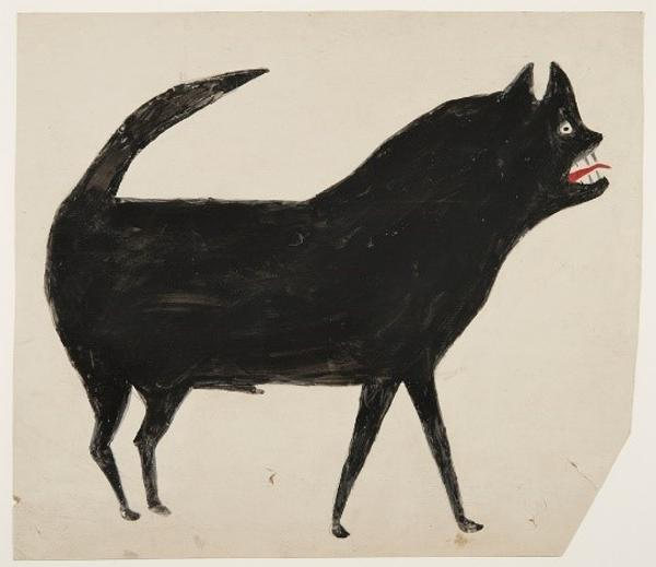 "William ""Bill"" Traylor, Untitled (Black Dog with Red Tongue), ca.  1939-40.  Opaque watercolor and pencil on cardboard, 16 x 13.75 in."