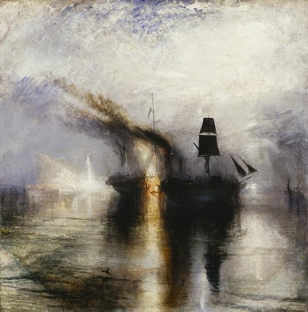 J.M.W.  Turner (1775–1851).  Peace—Burial at Sea, exhibited 1842.  Oil on canvas, 34 1/4 x 34 1/8 in.  Tate: Accepted by the nation as part of the Turner Bequest 1856.  Photo © Tate, 2019
