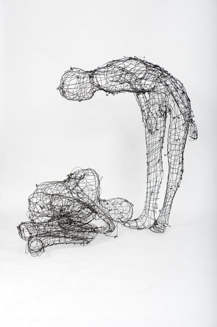 Elizabeth Keithline, Detail from Smarter, Faster, Higher; 2010, Steel Wire