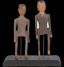 Two carved and painted articulated gentlemen, American School, 19th century.