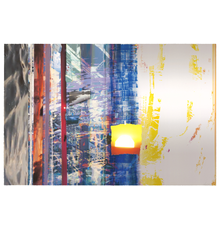 Sarah Sze, White Flash, 2021.Lithograph, inkjet, silk-screen and watercolor with collage.  Edition of 32.  Courtesy of the Artist and Universal Limited Art Editions (ULAE)