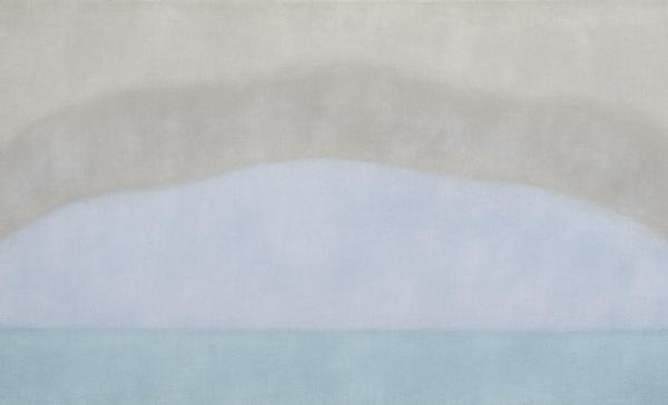 Susan Vecsey, Untitled (Aqua), oil on linen, 40 x 70 inches.