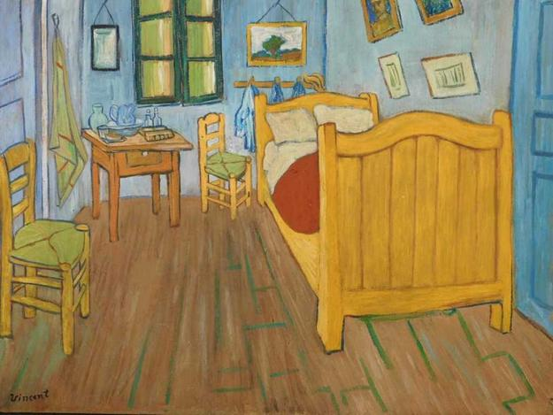 Gouache on board attributed to Vincent van Gogh (Dutch, 1853-1890), titled Bedroom at Arles, marked on verso with the collector's stamp of van Gogh's physician (est.  $100,000-$150,000).