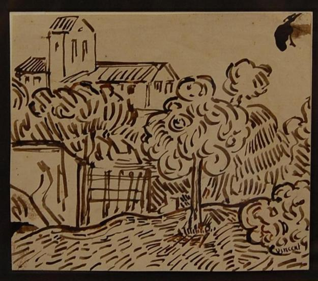 Original dark brown ink drawing attributed to Vincent van Gogh (1853-1890), done on heavy wove paper and titled Landscape with Tree (starting bid: $20,000).