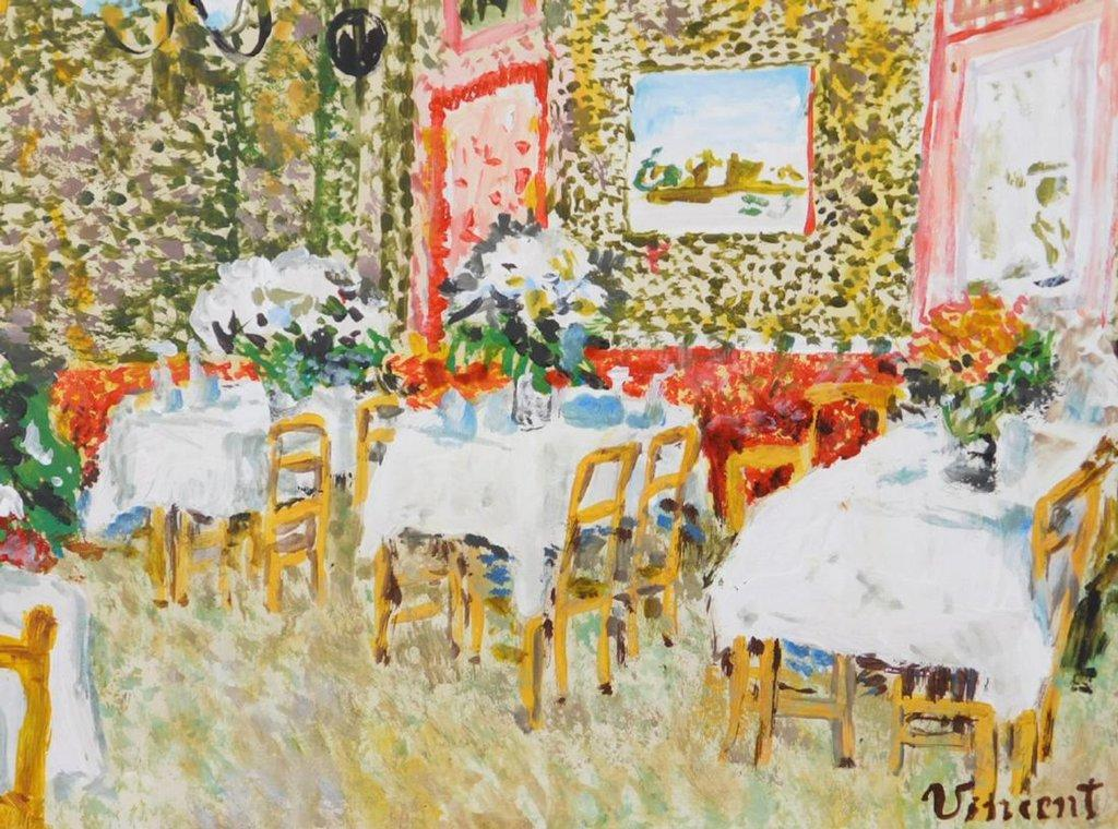 Colorful tempera and oil on paper attributed to the Dutch master Vincent van Gogh (1853-1890), titled Restaurant Scene, artist signed, 8 inches by 10 inches (est.  $12,000-$20,000).