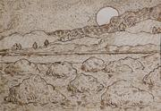 "Pen and brown ink drawing on laid paper attributed to the Dutch painter Vincent Van Gogh (1853-1890), titled Landscape with Haystacks, signed ""Vincent"" (est.  $80,000-$100,000)."