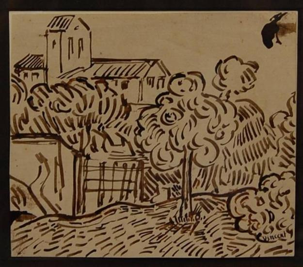 The drawing, titled Garden View of the Church at Auvers, was done in 1890, the same year van Gogh tragically took his own life at age 37.