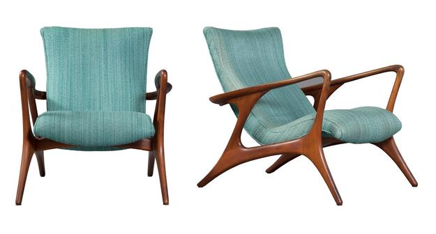 Pair of Vladimir Kagan Upholstered Walnut Contour Lounge Chairs, designed 1958.  Est.  $12,000-18,000