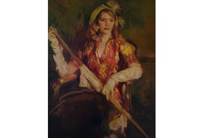 William Frederick Foster, A.N.A American, 1882-1953 Lady in a Print Dress with Umbrella, Oil on canvas, Signed.