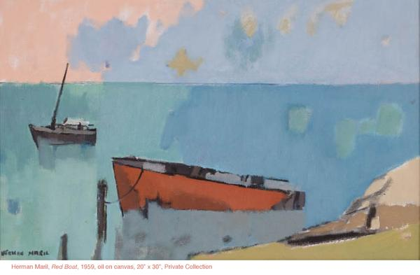 "Herman Maril, Red Boat, 1959, oil on canvas, 20"" x 30"", Collection of Christopher Partick"