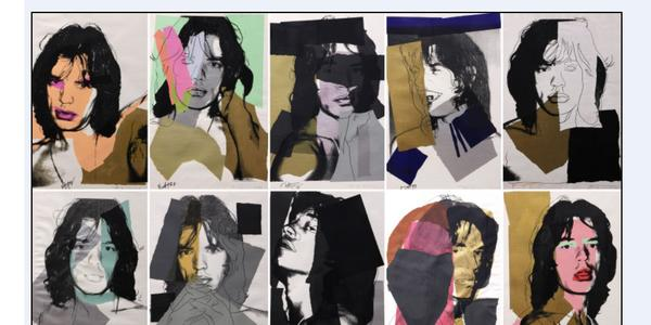 "Rare Andy Warhol (American, 1928-1987), ""Mick Jagger"" complete portfolio of ten screen prints.  This suite of prints sold for a record breaking total price of $817,000."