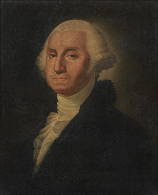 Oil on canvas portrait painting of George Washington, done in the manner of Edward Savage (Am., 1761-1817), 25 inches by 20 inches (est.  $3,000-$5,000).