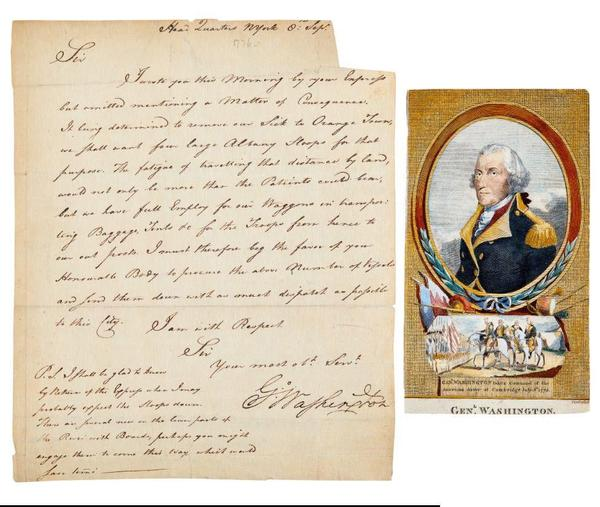 1776 letter signed by then-General George Washington, to Abraham Yates Jr., requesting assistance moving wounded troops after the Battle of Long Island (est.  $15,000 -$20,000).