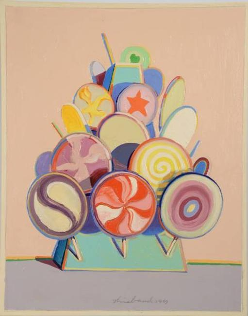 Oil on board painting by Wayne Thiebaud (Am., b.  1920), titled Lollipop Tree (1969), 13 inches by 10.25 inches, signed and dated (est.  $400,000-$800,000).