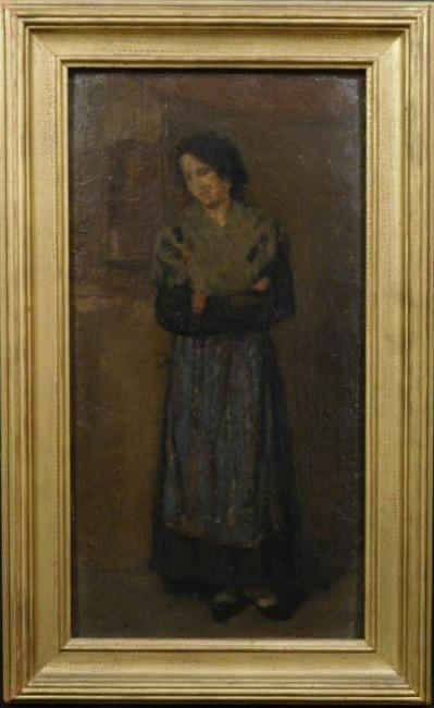 Rare oil on board painting by James McNeill Whistler (American, 1834-1903), titled Peasant Woman, done during Whistler's time spent in Venice, circa 1880 (est.  $200,000-$300,000).