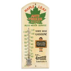 1930s Canadian White Rose painted wood thermometer, one of a few known, unusual in that it promotes multiple products, 21 inches by 8 ¾ inches (est.  CA$2,000-$3,000).