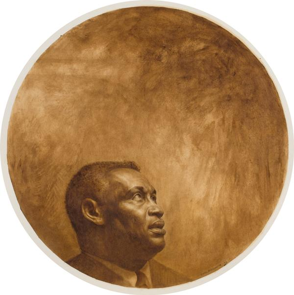 "Charles White (1918–1979), Paul Robeson, 1973, oil and graphite on illustration board, 41 1/2"" x 41 1/2"", signed"