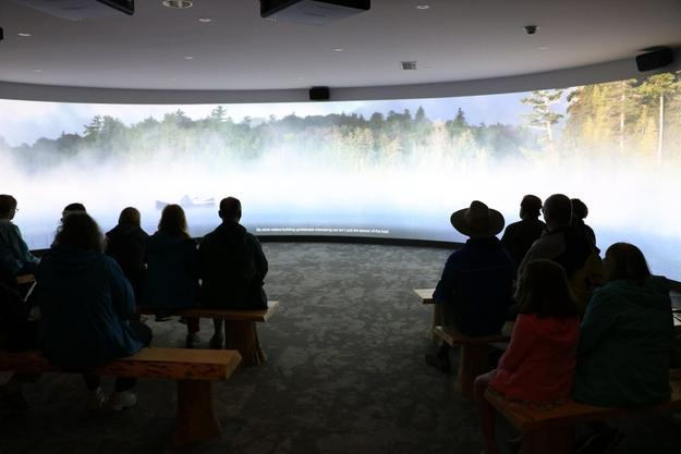 Wilderness Stories Theater in Life in the Adirondacks permanent exhibition at Adirondack Experience, The Museum on Blue Mountain Lake.  Photography by ADKX.  Courtesy Adirondack Experience.
