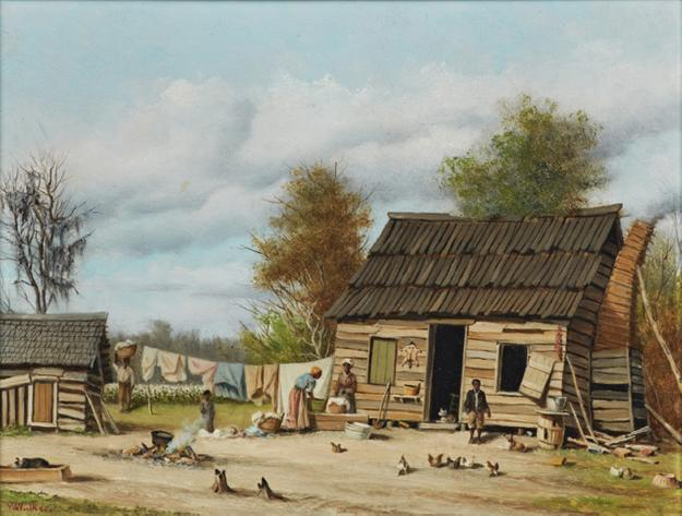 19th century oil on board painting by South Carolina artist William Aiken Walker (1838-1921), titled Cabin Scene, signed lower left (est.  $12,000-$15,000).