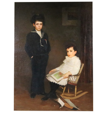 Oil on canvas double portrait of Sheldon and Adelbert Niles Potter by William Worcester Churchill (1858-1926), late 19th century.