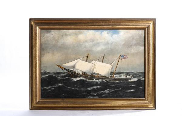 Oil on canvas laid to paper board painting by William Stubbs (1842-1909), titled Galdem (?) S.  Hills Caught in a Gale, signed and in a 20 inch by 28 inch frame (est.  $2,000-$3,000).