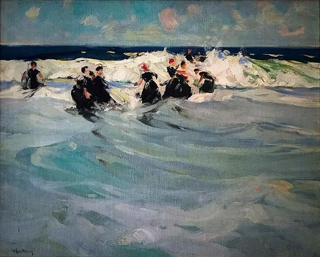 "Charles Woodbury, ""Playing in the Waves"", oil on canvas, 17"" x 21."