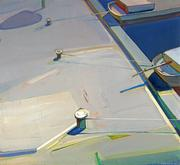 Raimonds Staprans, Afternoon 5, 1986.  Acrylic on canvas; 43 7/8 x 48 1/8 inches.  Promised Gift to the Crocker Art Museum from the Collection of Jane Olaug Kristiansen and Patricia O'Grady.
