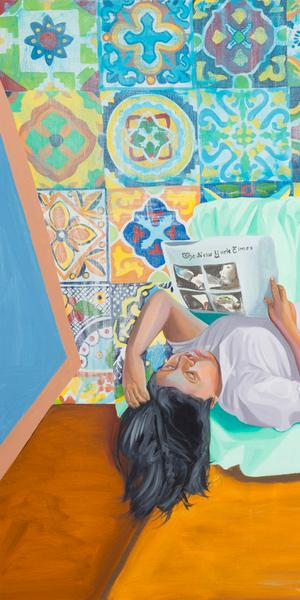 "Aliza Nisenbaum (b.  1977) ""La Talaverita, Sunday Morning NY Times,"" 2016.  Oil on linen, 68 × 88 in.  (172.7 × 223.5 cm).  Courtesy the artist, Anton Kern Gallery and Mary Mary, Glasgow."