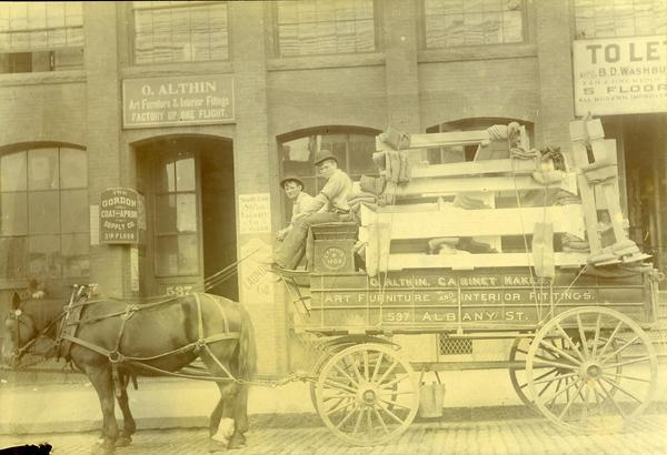 Olaf Althin's wagon with furniture in front of his shop in 1906, courtesy, the Winterthur Library: Joseph Downs Collection of Manuscripts and Printed Ephemera.
