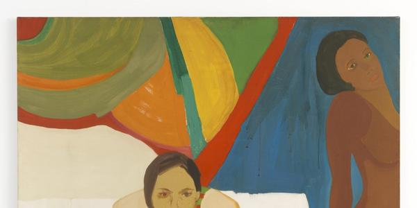 "Emma Amos, ""Seated Figure and Nude,"" 1966.  Oil on canvas, 56 × 50 inches.  Emanuel Family Collection."