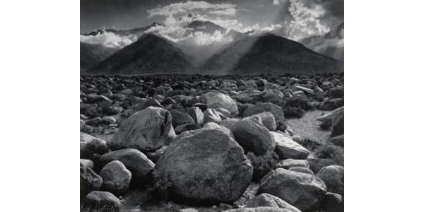 Mount Williamson, The Sierra Nevada, from Manzanar, California, 1944, printed 1973–75, Ansel Adams (American, 1902–1984), gelatin silver print.  Virginia Museum of Fine Arts, Adolph D.  and Wilkins C.  Williams Fund.  Photograph by Ansel Adams © The Ansel Adams Publishing Rights Trust.