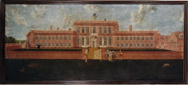 A massive 17th century painting of Denham Place in Buckinghamshire, fourteen feet in length.