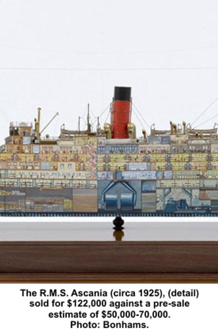 A rare cut-away model of the R.M.S.  Ascania (circa 1925) which fetched $122,000 against a pre-sale estimate of $50,000-70,000.