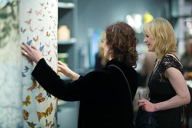 Guests interact with the large-scale ceramic works of Felicity Aylieff.