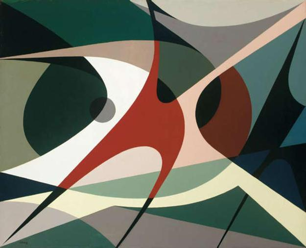 Antonio Llorens (1920–1995) Composición (Composition), 1952.  Oil on board.  © Estate of Antonio Llorens.  Colección Galería Oscar Prato, Montevideo, Uruguay.