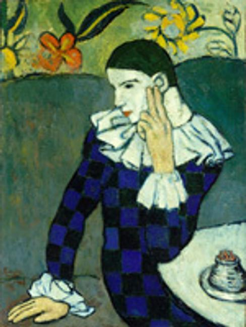 Pablo Picasso (Spanish, 1881–1973).  Seated Harlequin, 1901.  Oil on canvas, lined and mounted to a sheet of pressed cork; 32 3/4 x 24 1/8 in.  (83.2 x 61.3 cm).  The Metropolitan Museum of Art.  Purchase, Mr.  and Mrs.  John L.  Loeb Gift, 1960 (60.87).  © 2010 Estate of Pablo Picasso/Artists Rights Society (ARS), New York.