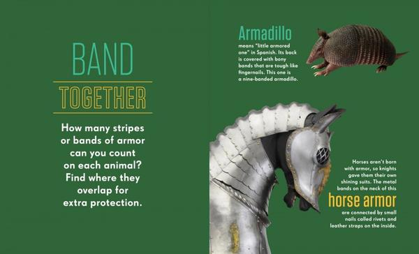 "Inside page view of ""Armor & Animals"" written by Liz Yohlin Baill, published by Princeton Architectural Press."