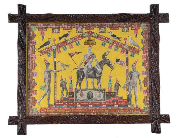 Felipe Jesus Consalvos, Sir Gogiva , c.  1920 - 50, mixed media collage on paper with carved wood frame, 25.50 x 31.50 in, courtesy of Andrew Edlin Gallery, New York