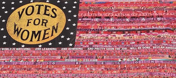 Marilyn Artus, Her Flag (detail), 2020; UV grade polyester, 18 x 26 ft.; Courtesy of the artist; Photo by Marilyn Artus