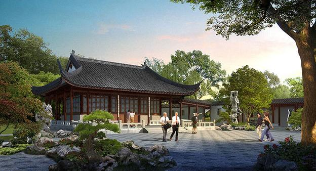 Artist's rendering of the Flowery Brush Library 筆花書房.  Designed in the style of a scholar's studio for painting and calligraphy, the Flowery Brush Library is part of an exhibition complex that will feature cultural programs, demonstrations, and displays of Chinese art.  The Huntington Library, Art Collections, and Botanical Gardens.
