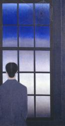 Will Barnet, The Spider as an Artist, 1990, oil on canvas, 42 x 22 inches